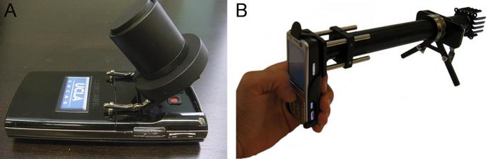 <b>Рис.2.</b> Модели насадок нателефон, преобразующих его вмикроскопы различных типов