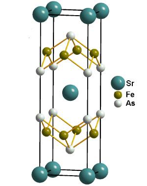 Рис.2. Кристаллическая структура сверхпроводника SrFe2As2. Рисунок из статьи PatriciaL. Alireza, etal. Superconductivity up to 29K in SrFe2As2 and BaFe2As2 at high pressures