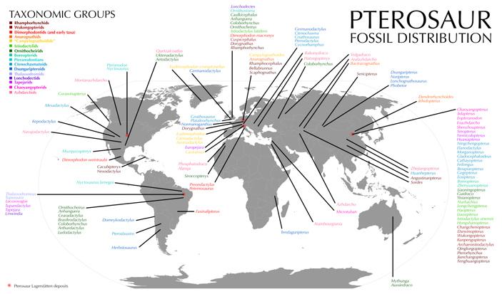 Распределение обнаруженных родов птерозавров на карте мира