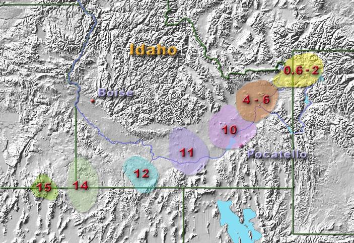 Рис. 2. Последовательность кальдер, показывающая миграцию Йеллоустонской «горячей точки»