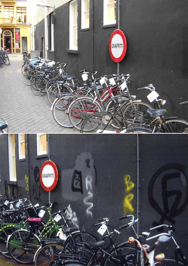 Если прицепить бумажку к велосипеду, стоящему уразрисованной стены, велосипедист, скорее всего, бросит ее на землю, если же стена чистая— заберет ссобой, чтобы потом выбросить вурну. Фото из обсуждаемой статьи вScience
