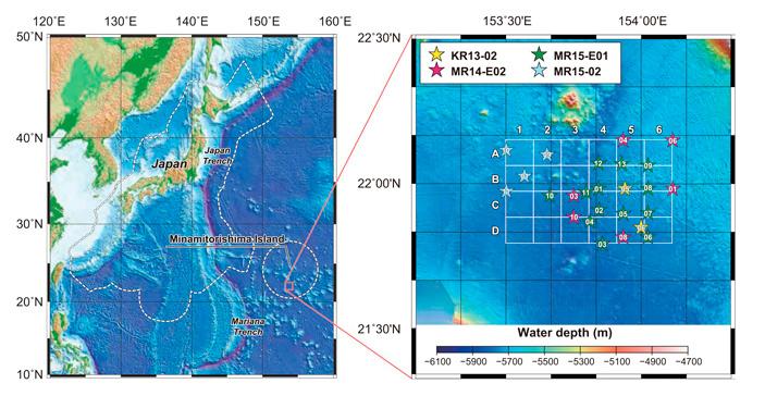 Рис. 2. Расположение изученного участка Тихого океана на батиметрической карте