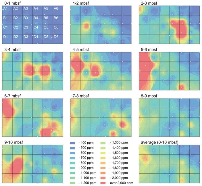 Рис. 3. Карты среднего содержания REY в иле на разных глубинах от поверхности дна
