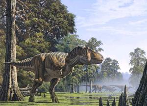 Такие тираннозавры (Tyrannosaurus rex) во взрослом состоянии весили около 5тонн. По-видимому, средняя температура их тела превышала30 градусов. По сути, они были теплокровными (хотя и «инерционными», то есть просто сохраняющими тепло, полученное извне). Рисунок с сайта www.futura-sciences.com. ©Raul Martin