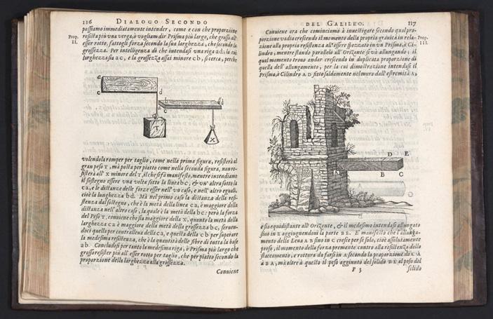 Разворот книги Галилео Галилея «Беседы и математические доказательства, касающиеся двух новых наук» (1638)