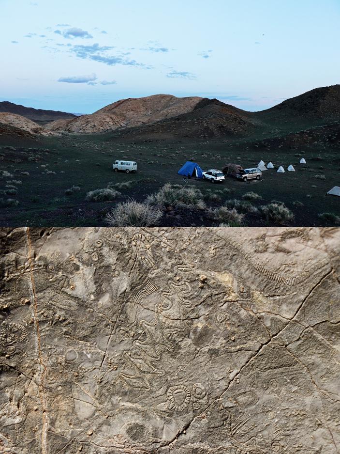 Рис. 1. Раннекембрийский археоциатовый атолл на хребте Сээр в Котловине Больших Озер, Монголия
