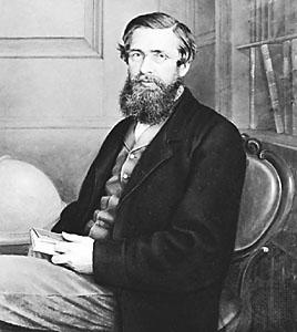 Альфред Рассел Уоллес (1823–1913) независимо от Дарвина пришел к выводам, которые легли воснову теории эволюции, но остался втени Дарвина, во многом потому, что Дарвин больше Уоллеса сделал для развития и популяризации этой теории. Репродукция с сайта www.britannica.com