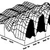 Трёхмерный график, показывающий сезонные изменения содержания углекислого газа в атмосфере на разных широтах. По данным Информационного центра в Oak Ridge National Laboratory. Из книги: Tyler Volk Gaia's Body. Towards a philosophy of Earth. New York: Copernicus. Springer. 1998