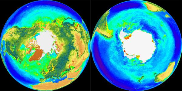Рис.3. Так выглядит наш Земной шар, если посмотреть на него состороны Северного полюса (слева) или Южного полюса (справа)
