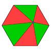 Шестиугольник, разрезанный на шесть треугольников