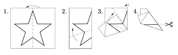 Как вырезать звездочку из бумаги
