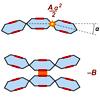 Энергия цепочки складывается из положительной упругой энергии изогнутых соединений (вверху) и отрицательной энергии «склеенных» боками звеньев (внизу)