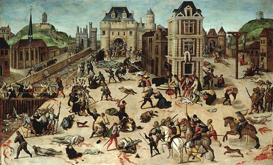 Эпизод гражданских войн во Франции: Варфоломеевская ночь. Кровопролитная расправа католиков над гугенотами началась вПариже вночь на 24августа 1572года (день св.Варфоломея) и продолжалась впоследующие дни впровинциях. Погибло, по разным источникам, от5 до 30тыс. человек. Картина французского художника Франсуа Дюбуа (François Dubois, 1529–1584) «Резня в Варфоломеевскую ночь», Окружной музей изобразительных искусств, Лозанна, Швейцария. Изображение с сайта en.wikipedia.org