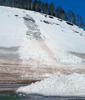 Искусственный склон у автодороги Южно-Сахалинск — Холмск и снежный оползень (осов), сошедший с него 25 марта 2018 г. («Природа» №8, 2019)
