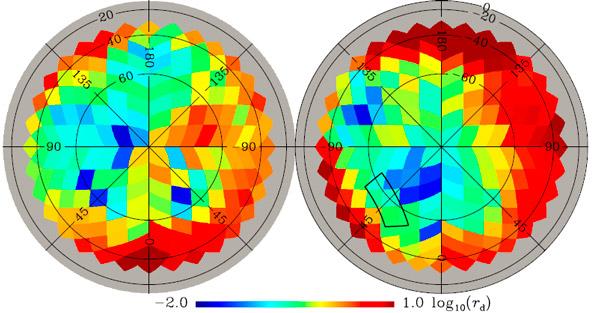 Рис. 3. Оценка «запыленности» B-мод, извлеченных из поляризации микроволнового излучения от разных участков неба