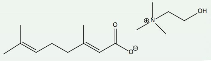 Рис. 5. Слева — гераниевая кислота, справа — холин