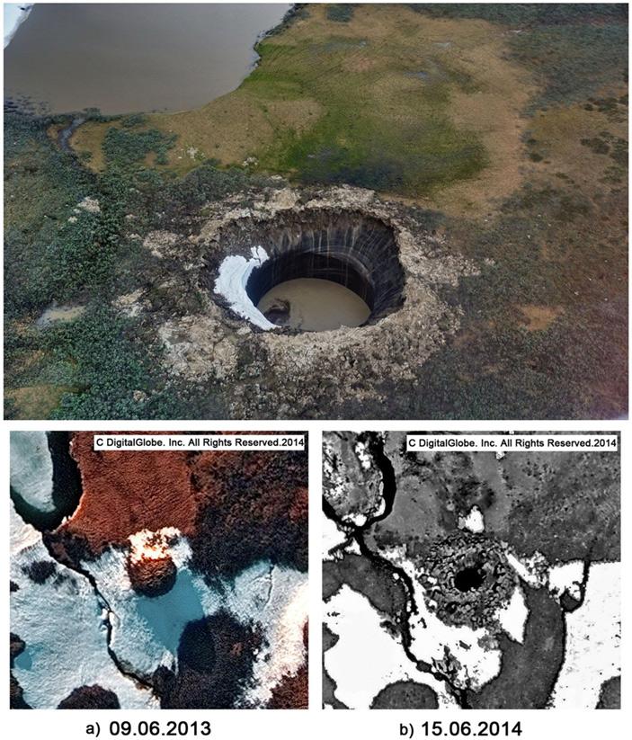 Ямальский кратер по состоянию на 15 июля 2015 года