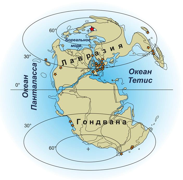Палеогеографическая карта начала юрского периода